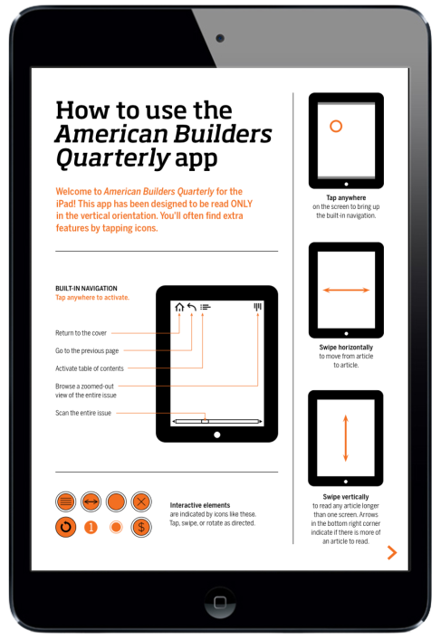 American Builders Quarterly Magazine for iPad. Navigation Page #digitalmagazine