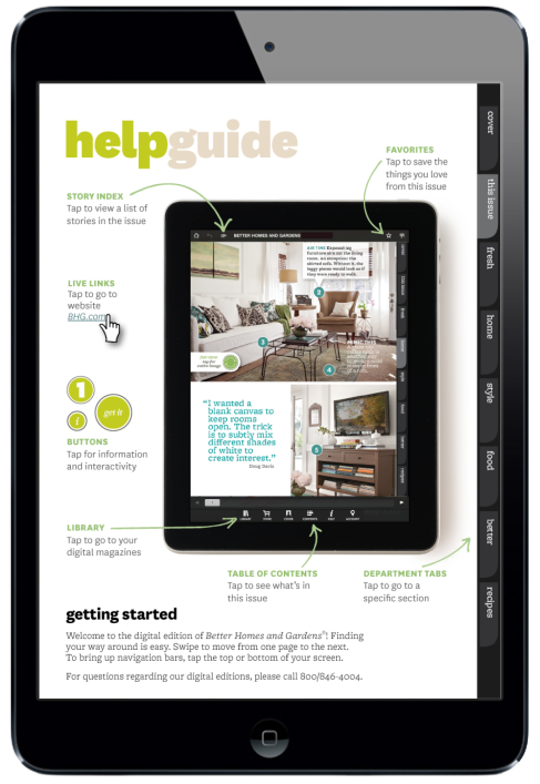 Better Homes Magazine for iPad. Navigation Page #digitalmagazine