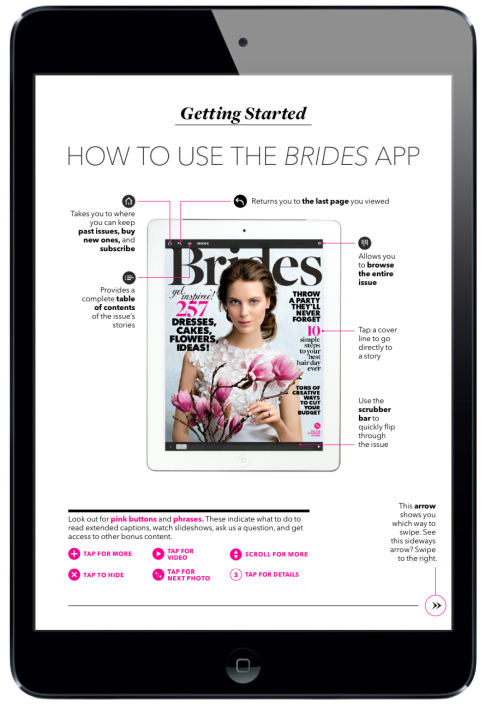 Brides Magazine for iPad. Navigation Page #digitalmagazine