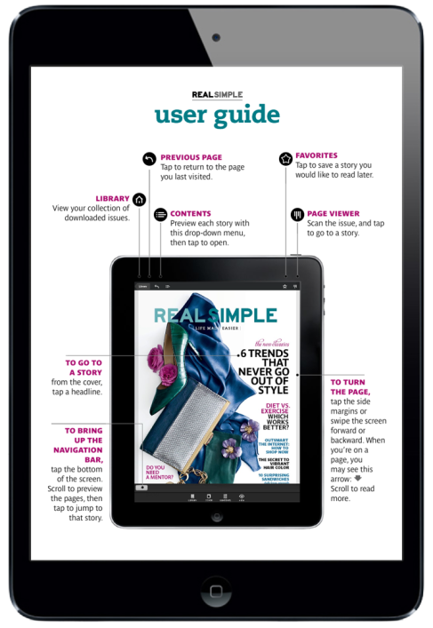 Real Simple Magazine for iPad. Navigation Page #digitalmagazine