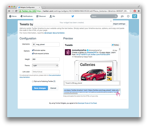 Twitter Timeline in Adobe DPS in 10 easy steps